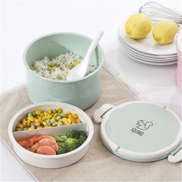 900 мл двойной Слои печь Bento контейнеров с отделениями случае посуда Еда ящик для хранения для детей каваи школы Коробки для обедов