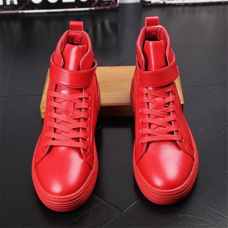 Hommes blanc En Confortable Automne Haut rouge De Sneakers Noir Appartements Jeunes Décontractée Respirant dessus Cuir 033 Mode Populaire Printemps Chaussures tCrhdxsQ