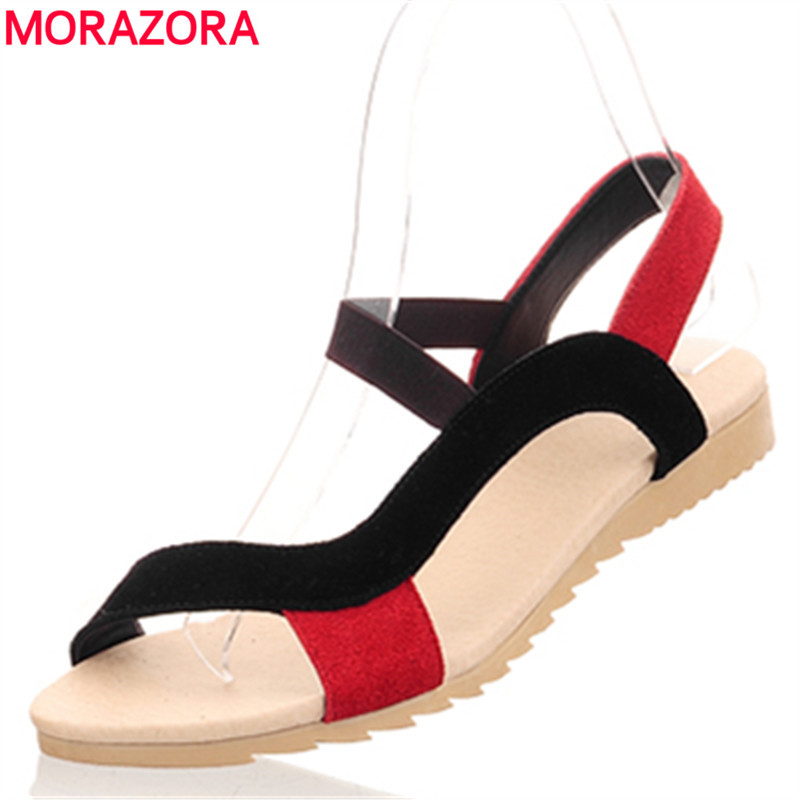 MORAZORA Low Price High Quality Cow Suede Nubuck Leather Women Sandals Flat Casual Summer Wedges Ladies