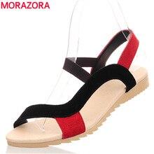 Morazora/низкая цена высокое качество корова замши нубук женские босоножки без каблука повседневные Летние босоножки на танкетке Женская разноцветная пляжная обувь