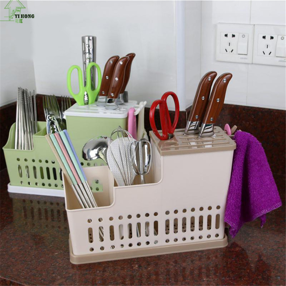 YI HONG Multifunction Knife Holder Plastic Knife Chopsticks Cage Draining Rack Storage Shelf Stand For Knives Holder