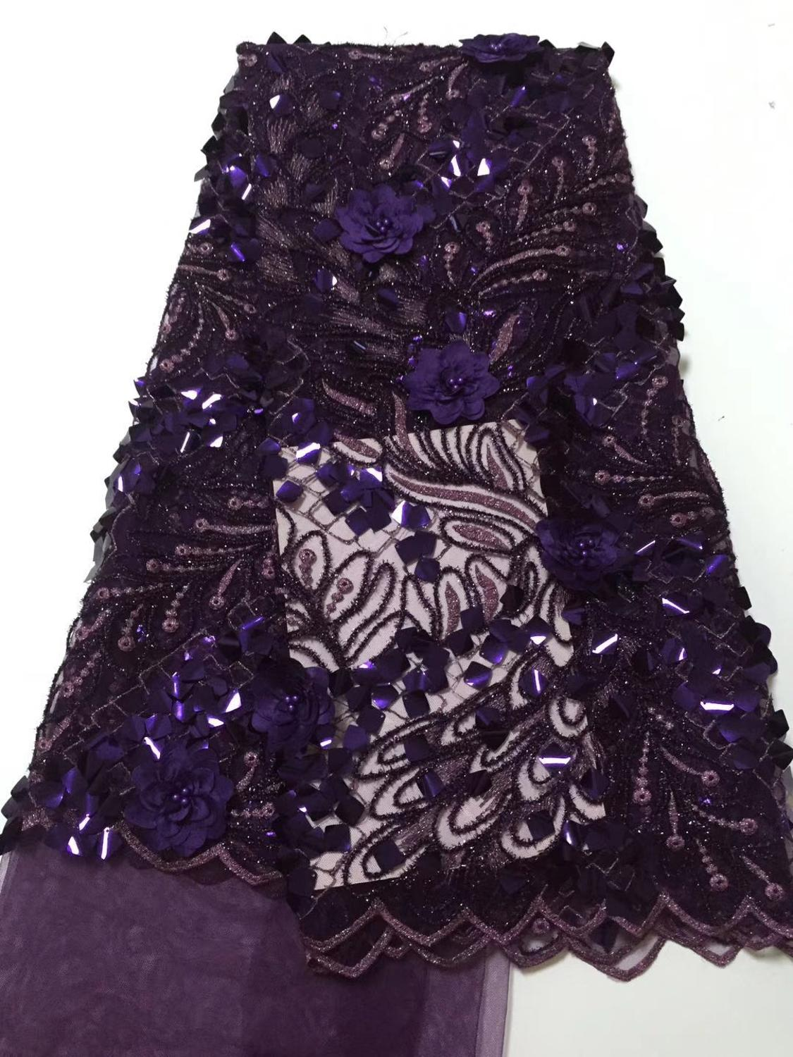 In 2019 (5 yards/PC) high quality royal blue Africa hand-cut organza lace fabric with sequins for large party dresses.