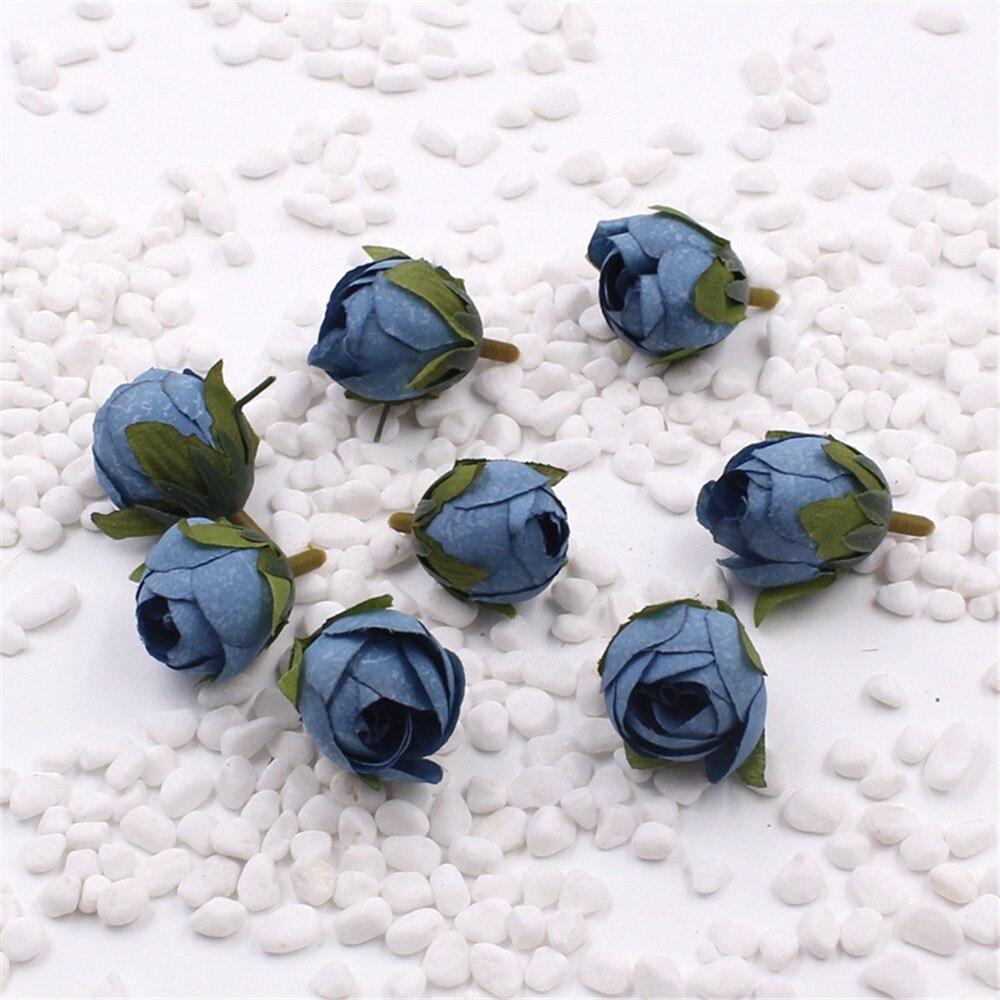 №50 unids seda capullo de Rosa flor artificial para el hogar de la ...