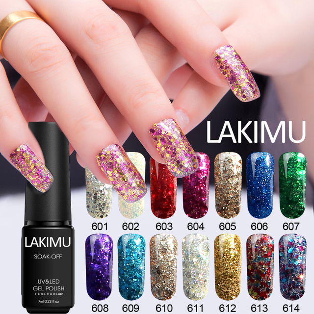 Lakimu Soak Off Nail Art Professional Uv Gel Polish Brilliant Diamond Glitter Color