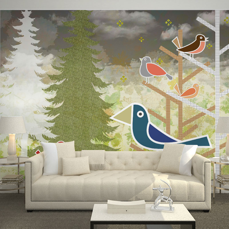 Us 16 41 46 Off Home Cafe Decor Wall Papers Mural Cartoon Tree Birds Wall Painting Children S Room Bedroom Self Adhesive Vinyl Silk Wallpaper In