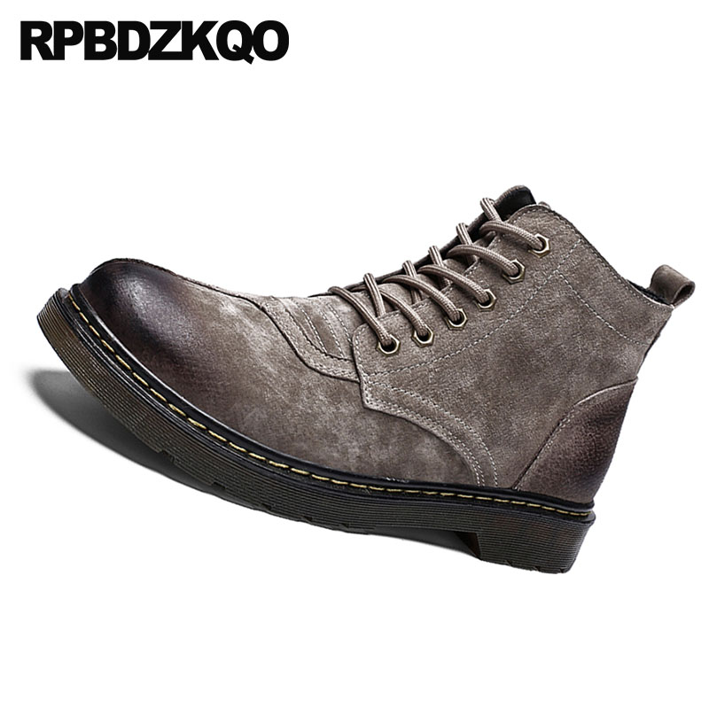 Coréenne Court Style Daim Chaussons Lacent Chaussures khaki De Britannique Armée En Mode Militaire Combat Automne Hommes Designer Cheville Noir 2018 gris Bottes OcwOF7Bq5