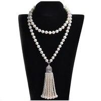 Роскошная модная бахрома длинные настоящая жемчужина Цепочки и ожерелья подходит для свадьбы и вечерние
