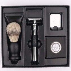 Titan maquinilla de afeitar de doble filo juego de maquinilla de afeitar de seguridad con cepillo jabón envío gratuito juego de maquinilla de afeitar