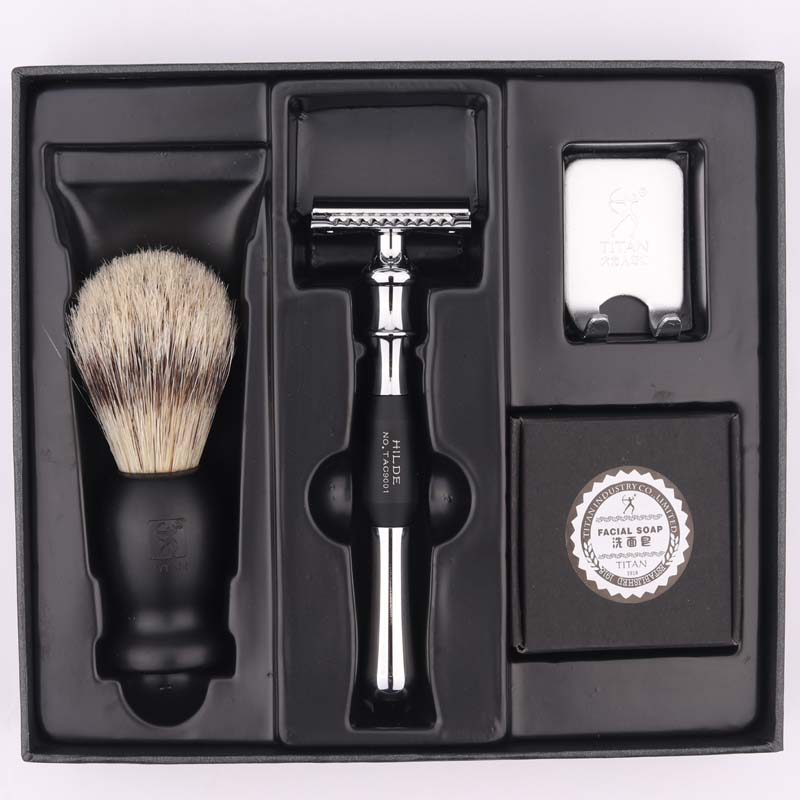 Titan razor  double edge safety razor set with brush soap  free shipping razor set