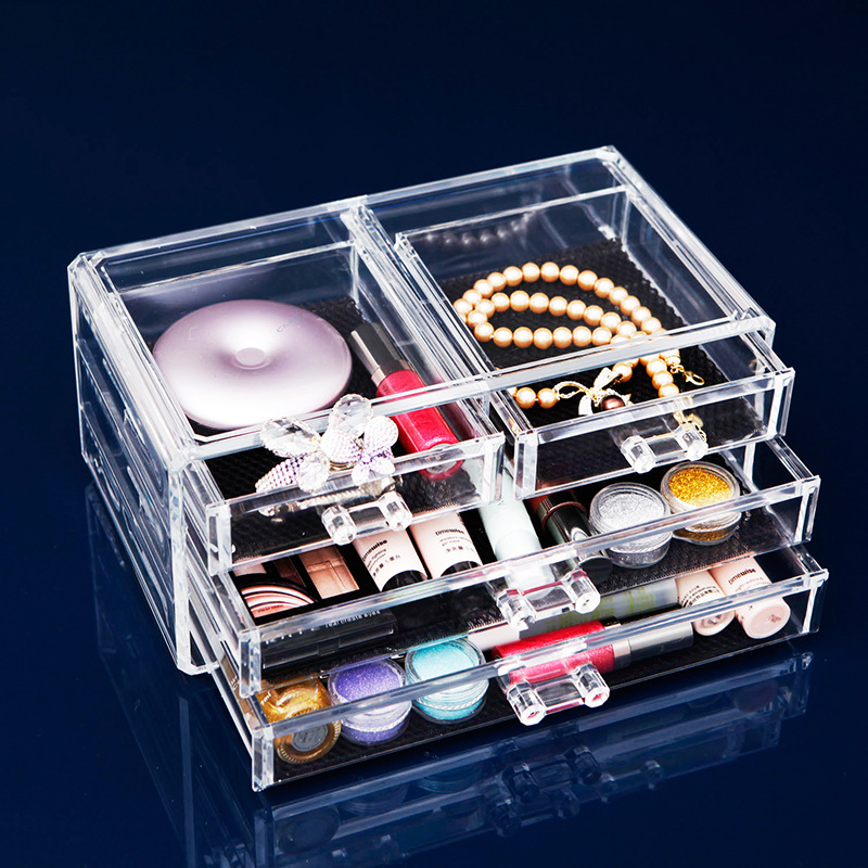 <font><b>Acrylic</b></font> Transparent Makeup <font><b>Organizer</b></font> Storage Boxes Home Sundries Jewelry Cosmetic Brush <font><b>Organizer</b></font> 4 <font><b>Drawers</b></font> Desk Storage Holder image