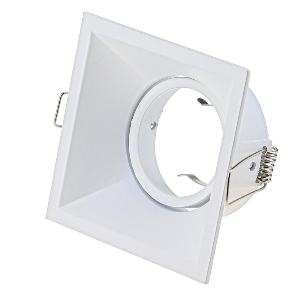 High Quality Aluminum Square Recessed LED Ceiling Light Holder Frame GU10 MR16 Lamp Fixtures Trim Rings MR16 Fitting White Black