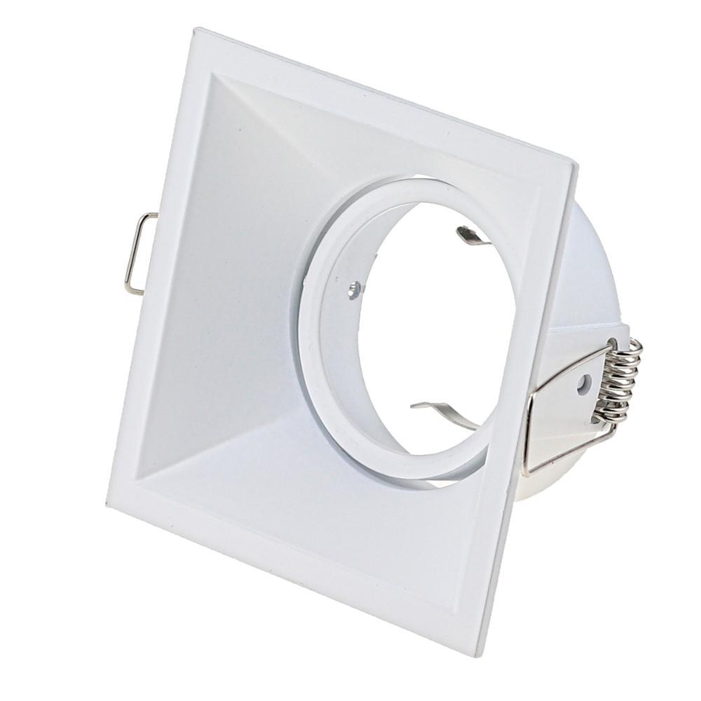 High Quality Aluminum Square Recessed LED Ceiling Light Holder Frame GU10 MR16 Lamp Fixtures Trim Rings MR16 Fitting White Black