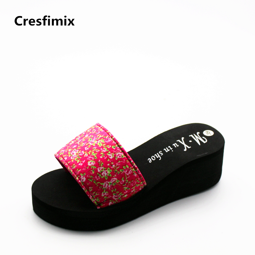 Cresfimix women fashion comfortable slip on summer slippers lady cute black floral slides female leisure spring platform slipper cresfimix women fashion