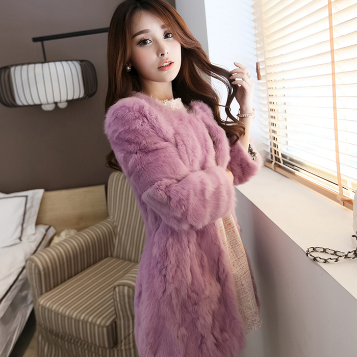 In The Long Section Of Rabbit Fur Coat New Autumn And Winter Fashion Slim Lady Fur Faux Fur Coat Winter Jacket Women Fur