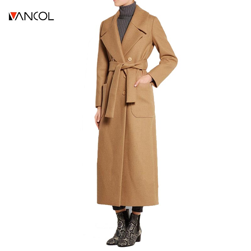 vancol 2016 designer womens coats cashmere coats pockets winter outfit  sashes ladies double breasted maxi long wool coat women - High Quality Designer Ladies Coats Promotion-Shop For High Quality
