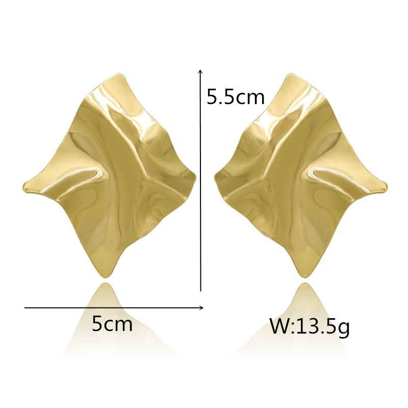 EK2126 Exaggerated Brand Gold Color Irregular Square Shiny Metal Big Drop Earrings Women Rhombus Punk Earrings Party Jewelry 1