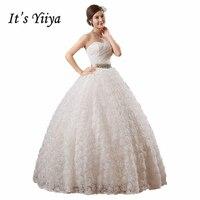 זה Yiiya בחור 2017 החדש סטרפלס פאייטים רוז שמלות כלה לבנה נסיכת אורך רצפת שמלת הכלה Vestidos דה Novia HS104