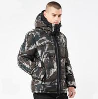 2018 New Autumn Winter Men Cotton Warm Camouflage Parkas Printed Fashion Overcoat Hat Plus Size Tops Male Long Sleeve Clothing