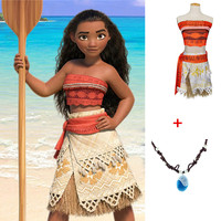 Hot Princess Moana Cosplay Costume Moana Costume Dress With Necklace For Kids Girls Adult Women Halloween