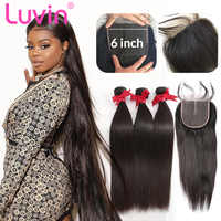 Luvin 26 28 30 32 40 Inch Peruvian Remy Straight Human Hair Weave Bundles With 6x6 Lace Closure Frontal 3 4 Bundles Extension