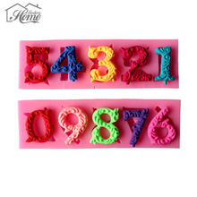 2PCS 0-9 10 Beautiful Numbers 3D Silicone Mold With Stick Hole Cookware Dining Bar Non-Stick Cake Decorating Fondant Mold