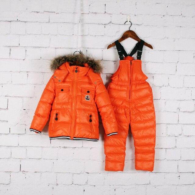 Зима марка дети одежда наборы детская одежда мальчики девочки ветрозащитный толстая Вниз Куртки + брюки спортивные костюмы открытый лыжные костюмы