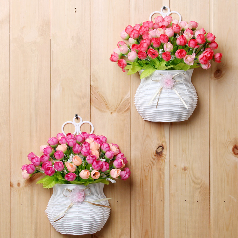 Plastic Vase With Silk Flowers Hanging Basket Container For Flower Plant Home Party Wedding Decoration Diy Set In Artificial Dried From