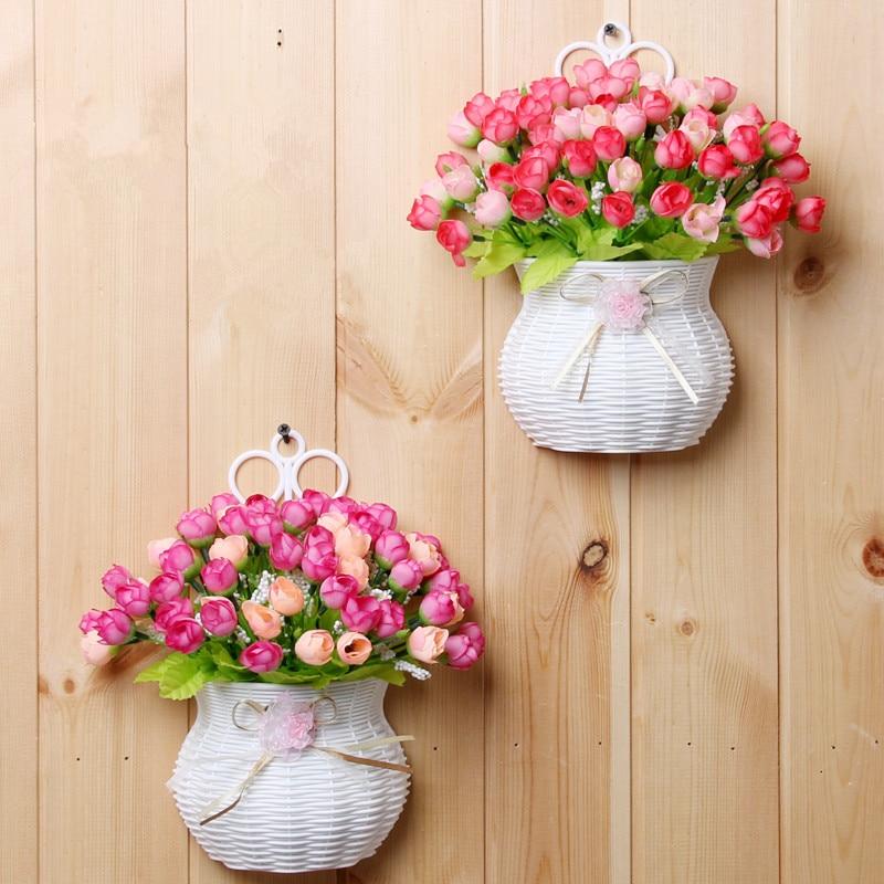 Plastic vase with silk flowers hanging basket container for flower plastic vase with silk flowers hanging basket container for flower mightylinksfo