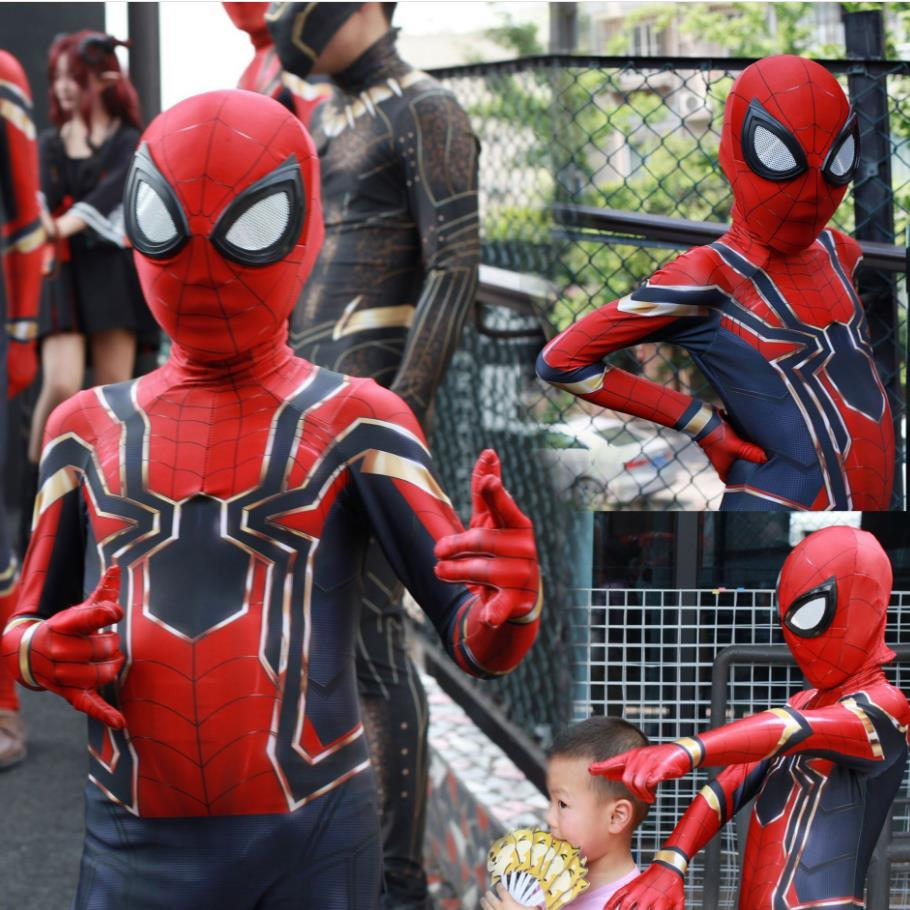 Kids Children Spiderman Movie Avengers Infinity War Cosplay Costume Zentai Iron Spider Man Superhero Bodysuit Suit Jumpsuits