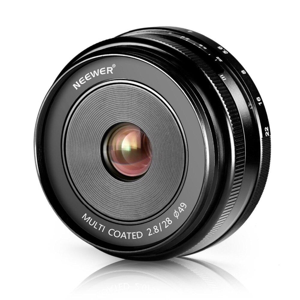 Neewer 28mm f/2.8 Manual Focus Prime Fixed Lens for SONY E-Mount Digital Cameras, Such as NEX3, 3N, 5,A6000, A6100 and A6300 50mm f2 0 aperture manual focus lens aps c for eosm nikon1 m43 sony e mount nex3 5t 6 7 a5000 a6000 a6300 fuji xt1 camera