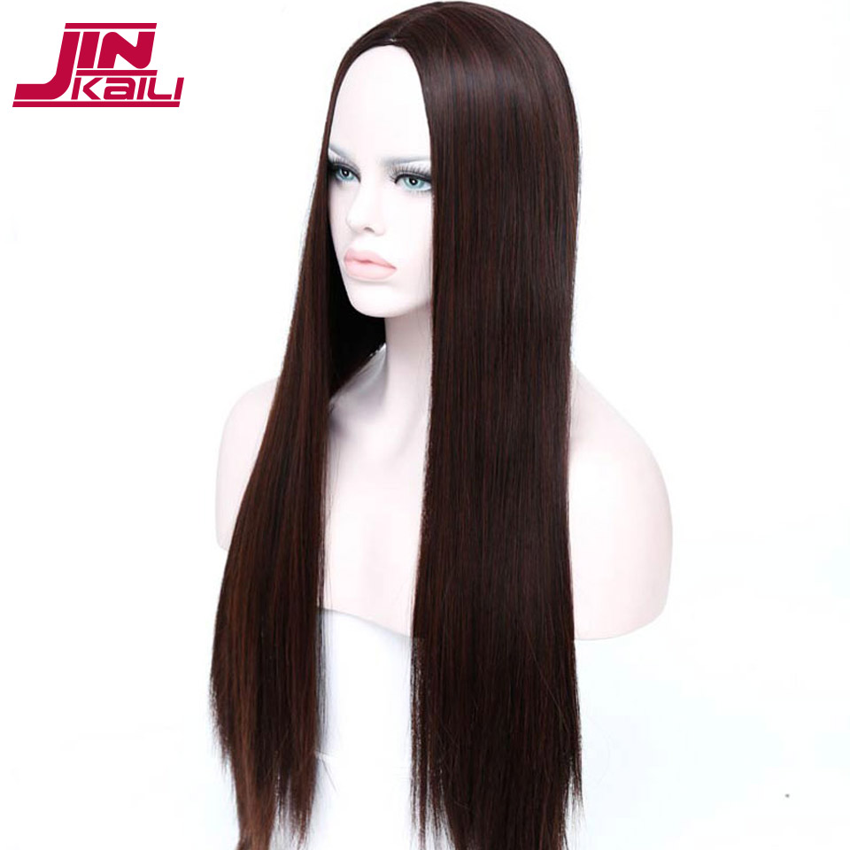 JINKAILI WIG Long Middle Part Straight Hair Wig Long Straight Synthetic None Lace Wig for Women