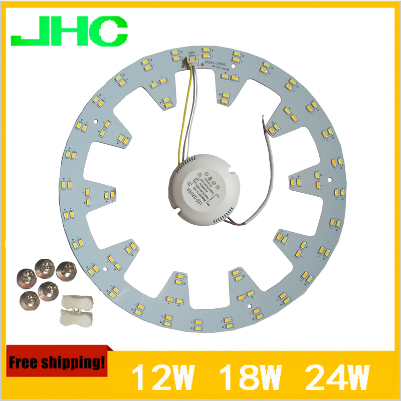 Ring Ceiling Lights Aluminum Plate High Quality SMD5730 LED Ceiling Lamp 2x24w 18W 12W AC90V~260V Warm White+Cool White In 1 PCB 30w 155mm dc12v led pcb input dc 12v needn t driver smd5730 super brightness aluminum lamp plate
