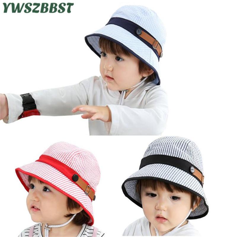 US $4 75 5% OFF|Stripe Baby Hat with fashion leather decoration Bubble  Cotton Baby Sun Hat for Girls Boys outside wear Cap Spring Summer Sun  Cap-in