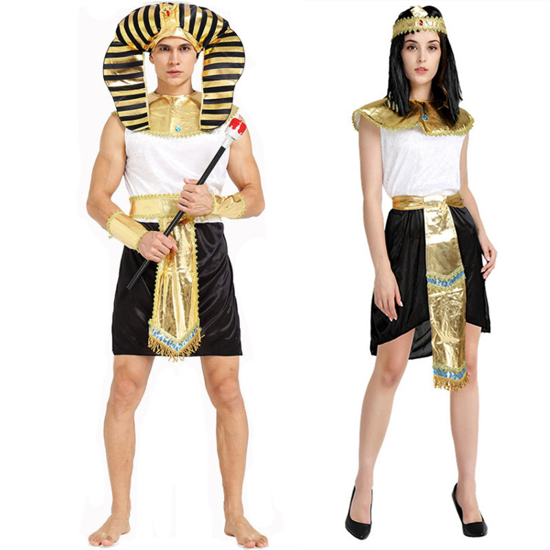 Egyptian Pharaoh Cleopatra Costumes For Halloween Purim Women Men Stage Couples Costumes image