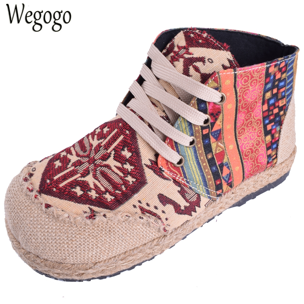 Vintage Women Shoes Thai Boho Cotton Linen Canvas Cloth Single National Embroidery Woven Lace Up Round Toe Flat Shoes chinese women flats shoes vintage boho cotton linen canvas floral embroidered cloth national soft woven round toe ballet shoes