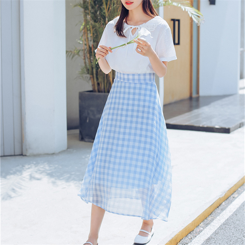 YouG New Plaid Office Women Long A-Line British Style Polyester Plaid Skirt Kilt Summer Vintage Tartan Umbrella Plaid Skirts