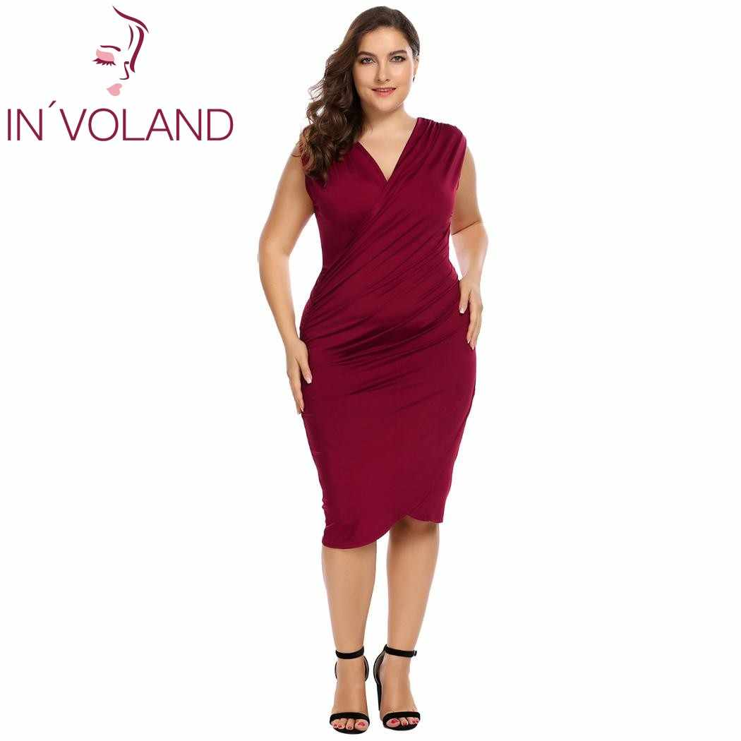 IN VOLAND Plus Size Women Pencil Dress Sexy Wrap Front Sleeveless Side  Ruched Asymmetrical Short ef4053f879e7