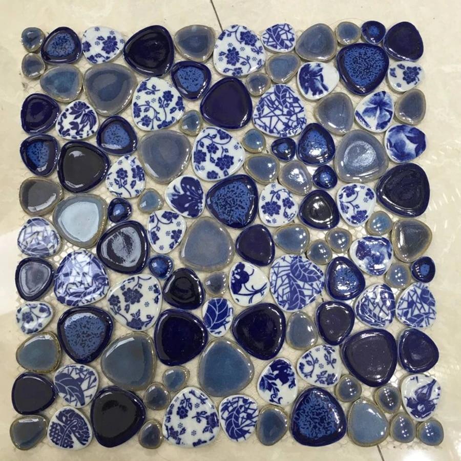 chinese style blue flower pebble ceramic mosaic tile diy bathroom wall floor tile decoration mesh backing