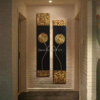 Hand Painted Modern Abstract Gold black Oil Painting Large vertical Textured Wall Decorative Canvas Art Picture for living room
