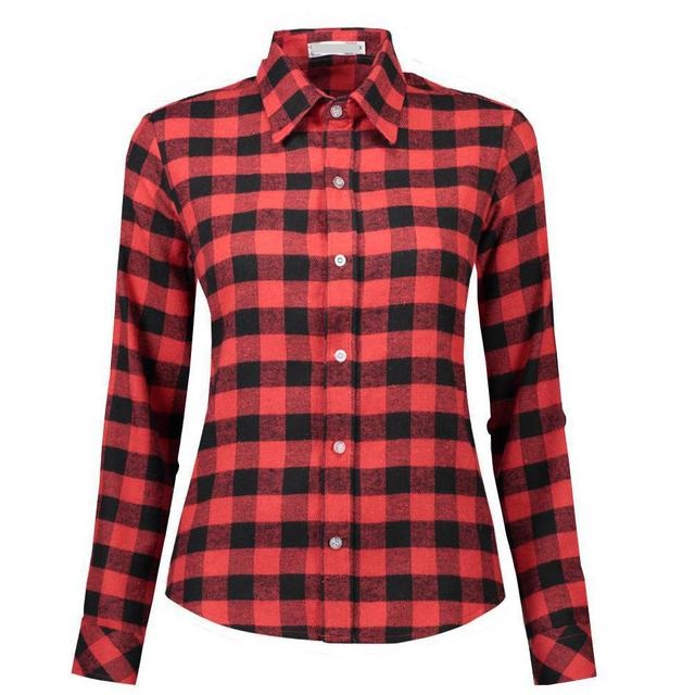 Woman Office Work Shirt Long Sleeve Blouses Blusas Flannel Red Black