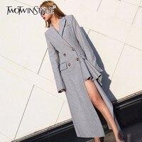 Twotwinstyle不規則なウールコート用女性ラペル襟ダブルブレストフリル分割長いオーバーコート春スリムol