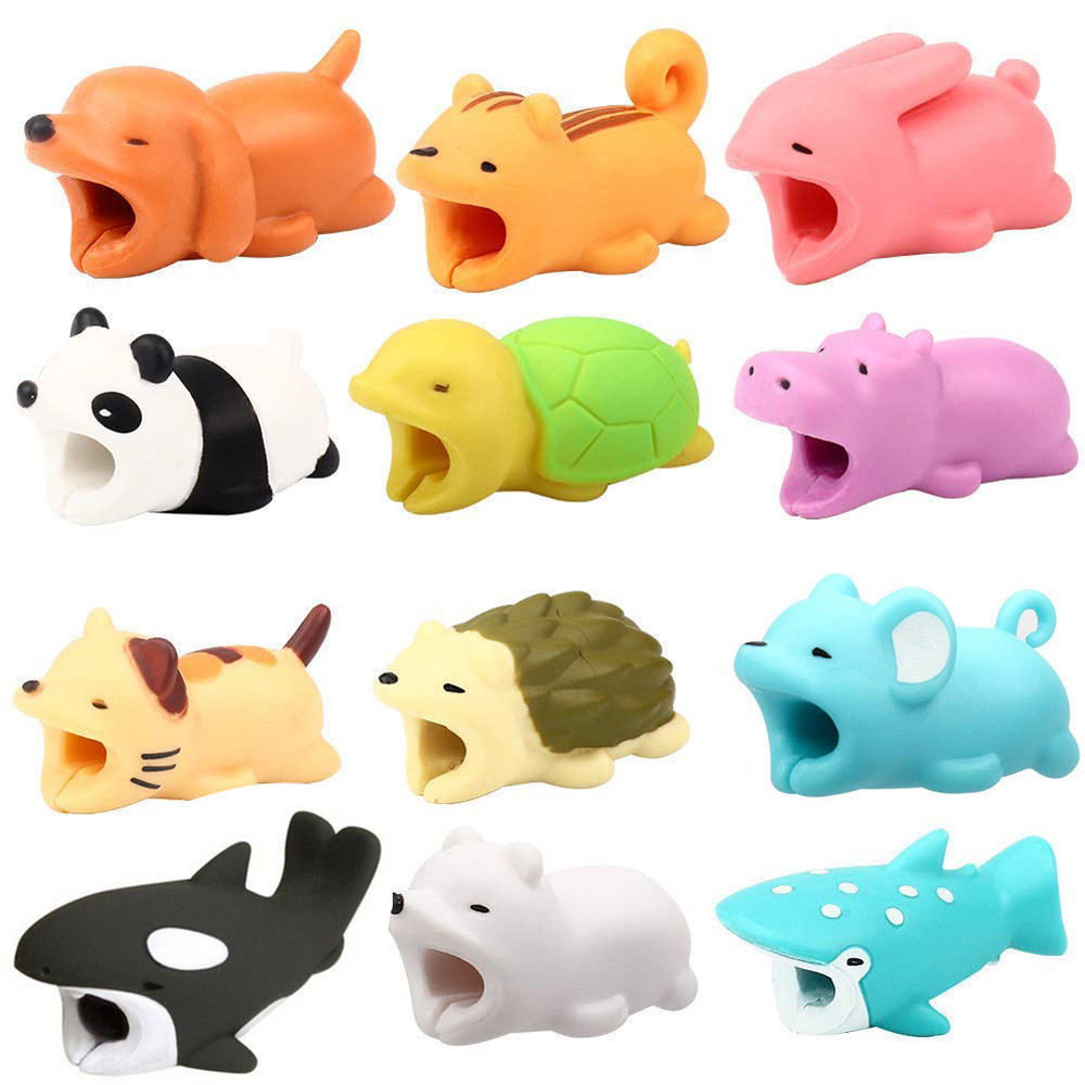 Phone Accessories 12pcs Cable Bite For Iphone Cable cord Animal Phone Accessory Protects Cute 10#