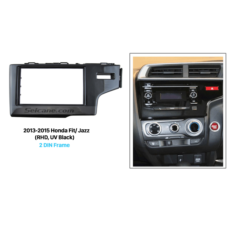 Seicane UV Black 2 Din Car Radio Fascia for 2013 2014 2015 Honda Fit Jazz RHD Auto Stereo Adaptor Dash Mount DVD Player