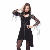 Darkinlove Women Gothic Dress Black Faux Leather and Mesh Asymmetric Sexy Dress