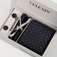 2015navy Blue White Dot Ties Handkerchief And Cufflink Tie Clip With Gift Box 5 Sets Necktie
