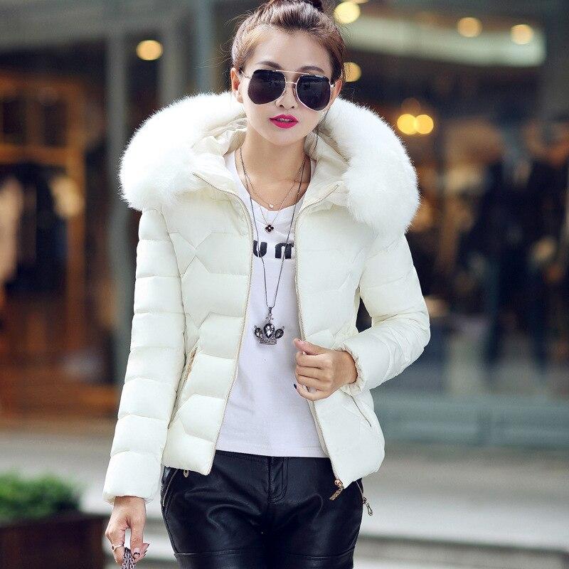 2018 Autumn Winter Jackets Women Coat   Parka   Fur Collar Plus Size Slim stylish hooded White hooded   parka   woman fashion 2019