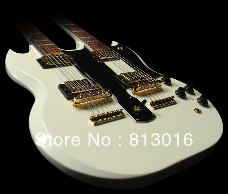 Custom Shop EDS-1275 Double Neck, Alpine White Electric Guitar By Spring  (Free shipping) human free shipping hot guitar electric guitar olp yellow white double shake guitar good quality beautiful