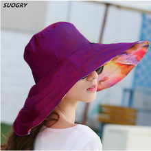 ea08c2d40ac 2018 Summer large brim beach sun hats for women UV protection sun caps with big  head foldable style fashion lady s hat