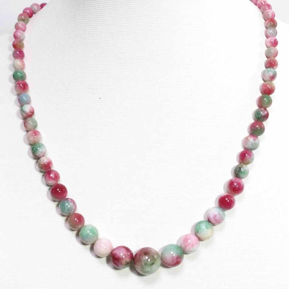 Modest Multicolor Pink Semi-precious Stone Chalcedony Jades Tower Chain Necklace 6-14mm Round Beads Trendy Jewelry 18inch B1482 Commodities Are Available Without Restriction Necklaces & Pendants