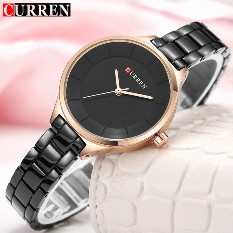 Relogio Feminino Curren Women Watches Luxury Gold Black Full Steel Dress Jewelry Quartz Watch Ladies Fashion Elegant Clock Saat